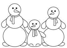 familjen kastar snöboll Arkivbilder