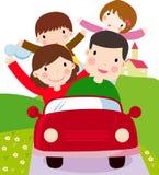 Familjen med två ungar och familjen reser Royaltyfria Bilder