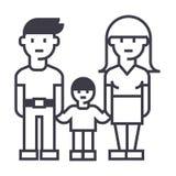 Familjen, moderfadern och sonvektorn fodrar symbolen, tecknet, illustration på bakgrund, redigerbara slaglängder Arkivbilder