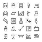 Familjen och den hem- linjen symboler packar vektor illustrationer