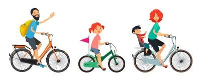 Familjen på cyklar går Manlig och kvinnlig ridning på cykeln royaltyfri illustrationer