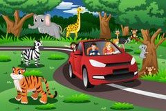 Familjen på en tur till ett djurt parkerar stock illustrationer