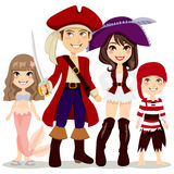 familjen piratkopierar royaltyfri illustrationer