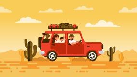 Familjen reser med bilen med en hund stock illustrationer