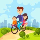Familjen rider en cykel Isolerat på vit bakgrund Arkivbild