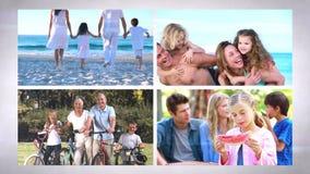 Familjen semestrar montagen lager videofilmer