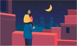 Familjen ser upp på himlen Konstillustration stock illustrationer