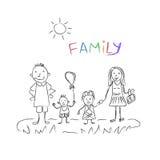 Familjen skissar, vektorillustrationen Arkivfoto