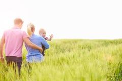Familjen som går i bärande barn för fält, behandla som ett barn sonen royaltyfri foto