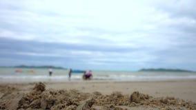 Familjen spelar på stranden med sand på förgrund stock video