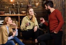 Familjen tycker om konversation i skogsvaktarehus Ärligt konversationbegrepp Vänner familj spenderar angenäm afton fotografering för bildbyråer