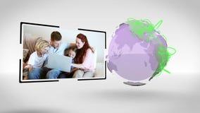 Familjer, lite varstans som världen förband med en jordbildartighet av Nasa org arkivfilmer