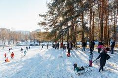 Familjer tycker om sledding på en snöig kulle Arkivbilder