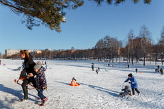 Familjer tycker om sledding på en snöig kulle Royaltyfri Fotografi