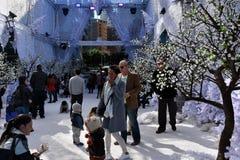 Familjer tycker om snön på vinterfestivalen royaltyfri fotografi