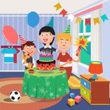 Familjfödelsedagparti Pojke med hunden stock illustrationer