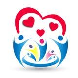 Familjförälskelse, union och hjärtaformlogoen planlägger Royaltyfri Bild