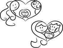 familjförälskelsesymboler Fotografering för Bildbyråer