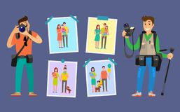Familjfotografer med kameror som tar foto stock illustrationer