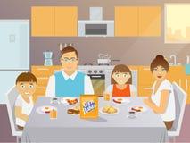 Familjfrukostlägenhet vektor illustrationer
