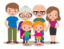 Familjgruppståenden uppfostrar morföräldrar och barn Royaltyfria Foton