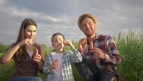 Familjgyckel, gladlynt pappa med mumen och son som blåser bubblor och ler under att vila på naturen i grönt fält mot lager videofilmer