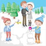 familjgyckel som har snöig skogsmark vektor illustrationer