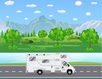 Familjhandelsresandelastbil som kör på vägen stock illustrationer