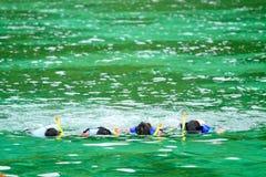familjhav som snorkeling Arkivfoton