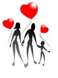 familjhjärtaförälskelse vektor illustrationer