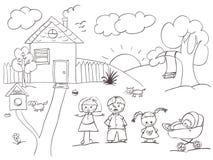 familjhuset skissar Arkivbilder