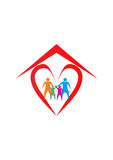 Familjhuslogo, familjhjärtalogo royaltyfri illustrationer
