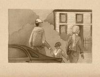 Familjidyll Familj: fadern, modern och barnet, g royaltyfri illustrationer
