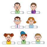 Familjklistermärke för tre utveckling Royaltyfri Bild