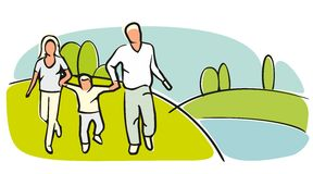 Familjkonturer på gräs- fält på en molnfri sommardag Arkivfoton