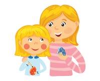 Familjmålarfärgägg för påsk Royaltyfri Fotografi