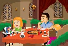 familjmåltid stock illustrationer