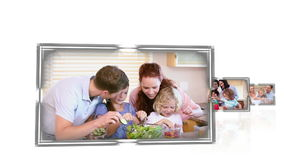 Familjmatlagning stock video