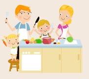 Familjmatlagning Arkivbild