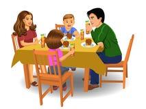 Familjmatställe stock illustrationer