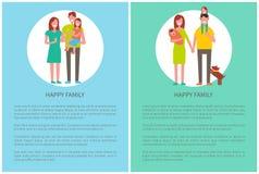 Familjmoderfader Toddler och nyfödd dotter vektor illustrationer