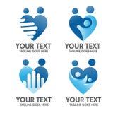 Familjomsorg och förälskelselogobegrepp royaltyfri illustrationer