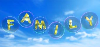 Familjordet i bubbla royaltyfri illustrationer