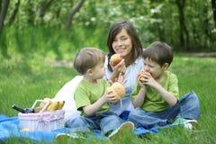 familjpicknick fotografering för bildbyråer