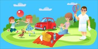 Familjpicknick, fader, moder och barnbil Royaltyfri Bild