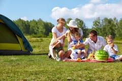 Familjpicknicken parkerar in Royaltyfri Foto