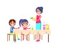 Familjpicknickmoder och ungevektorillustration stock illustrationer