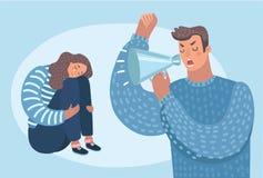 familjproblem, tryck på arbete Psykologiskt missbruk vektor illustrationer