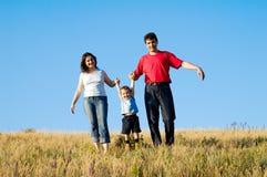 familjrunning Fotografering för Bildbyråer