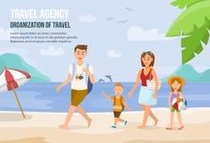 Familjsemester på stranden också vektor för coreldrawillustration stock illustrationer